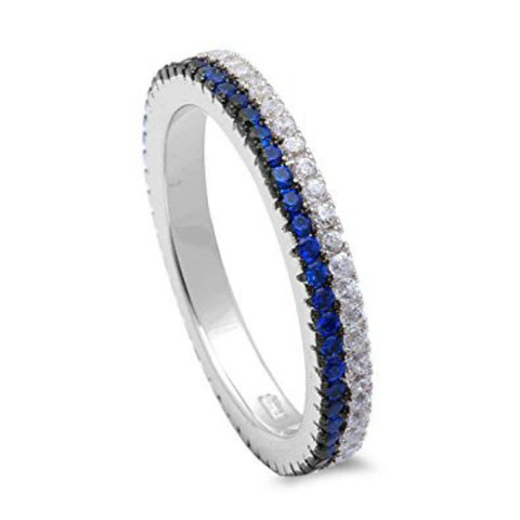 Eternity Stackable Thin Blue Round Sapphire Cubic Zirconia 925 Sterling Silver