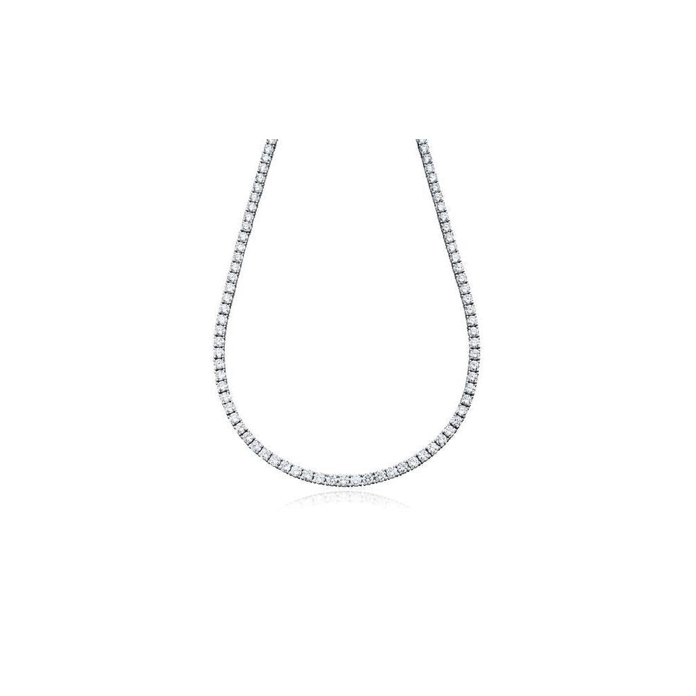 "5MM CZ Tennis Necklaces .925 Sterling Silver Length ""18 to 28"" Inches"