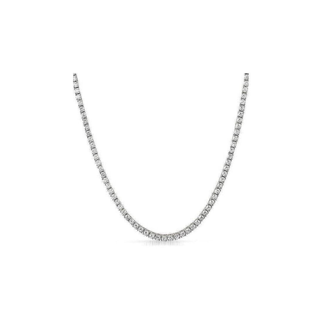 "3MM CZ Tennis Necklaces .925 Sterling Silver Length ""17 to 30"" Inches"