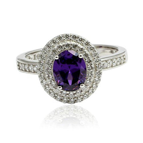 Double Halo Dazzling Wedding Engagement Ring Oval Simulated Amethyst Round Cubic Zirconia 925 Sterling Silver