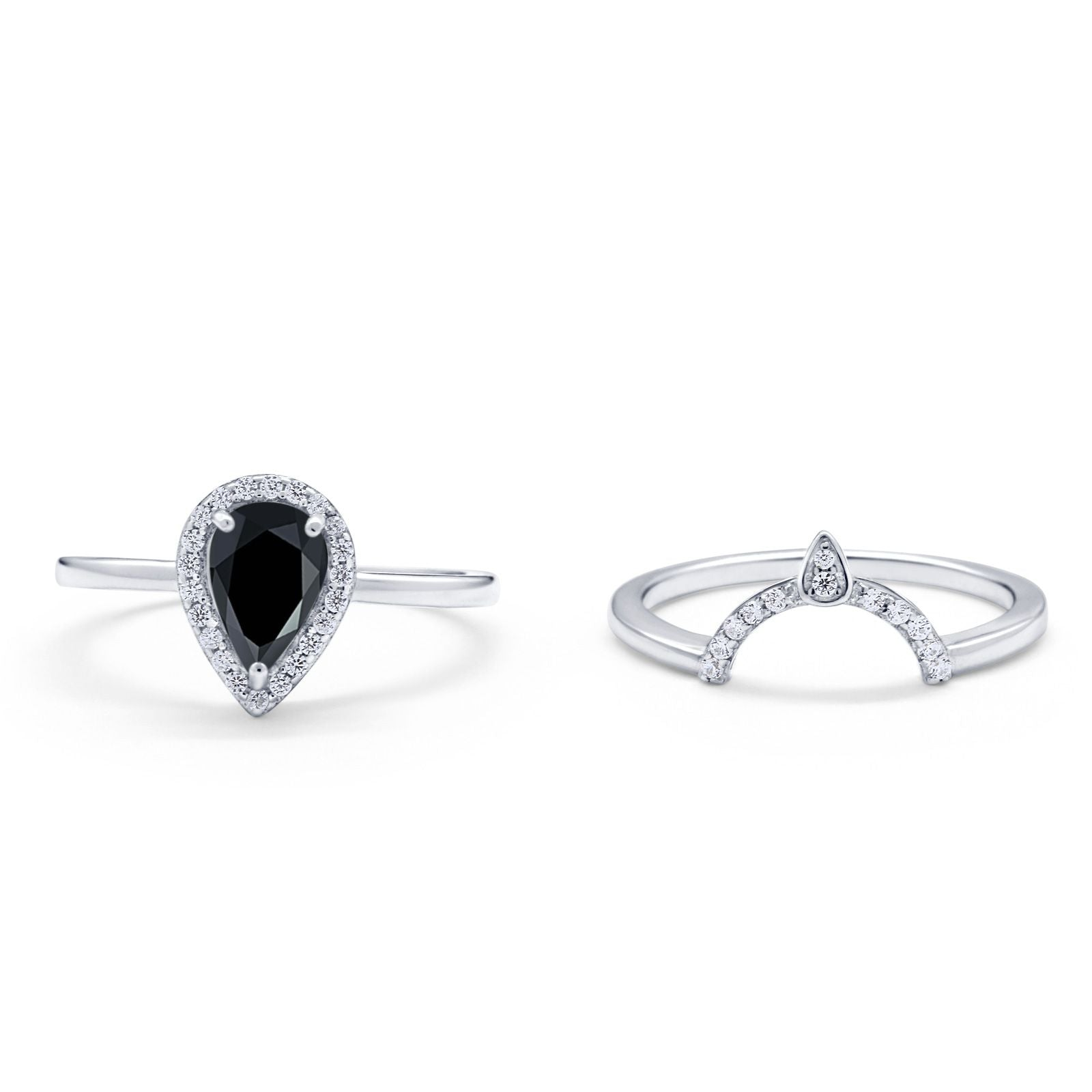 Two Piece Teardrop Engagement Ring Simulated Cubic Zirconia 925 Sterling Silver