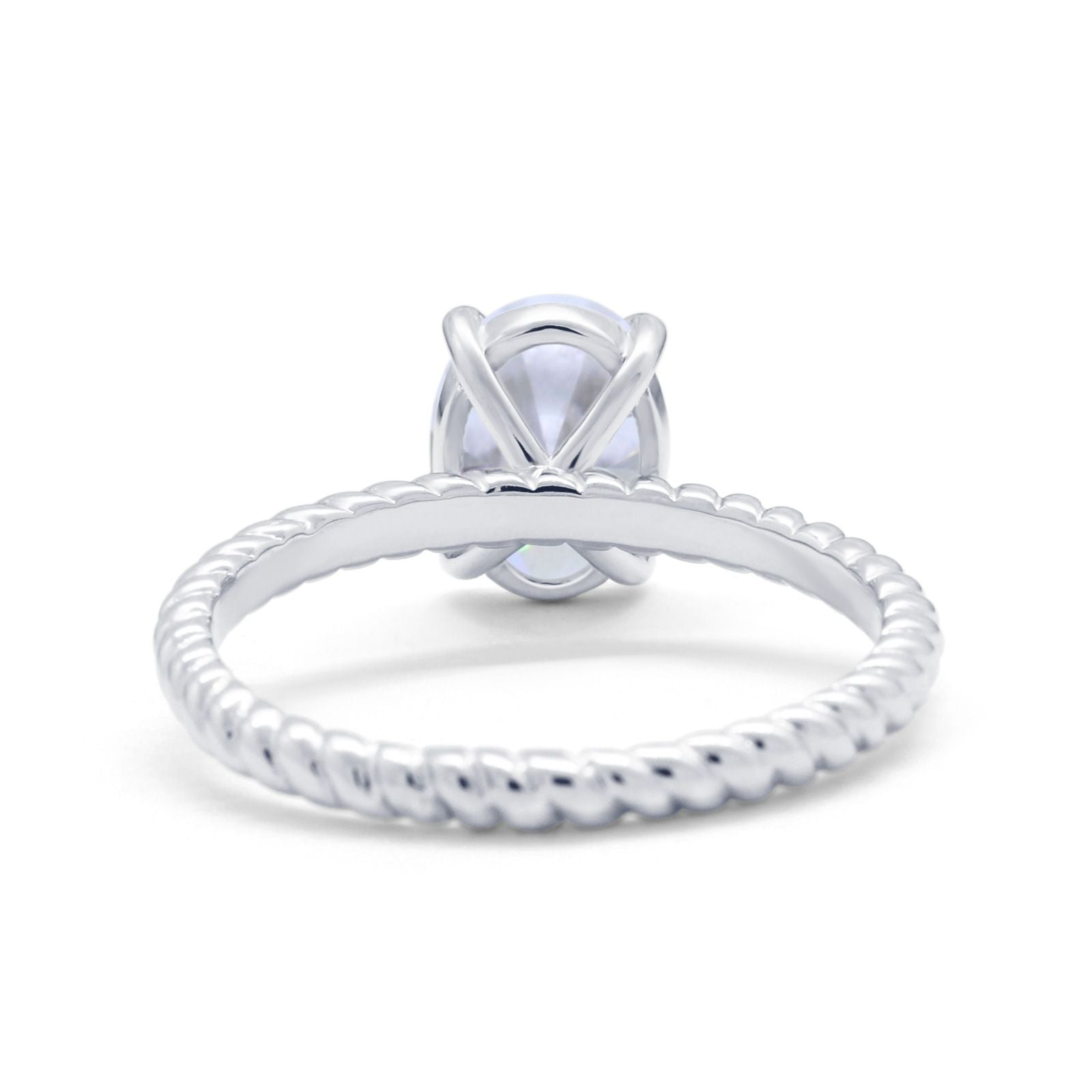 Solitaire Braided Engagement Ring Simulated Cubic Zirconia 925 Sterling Silver