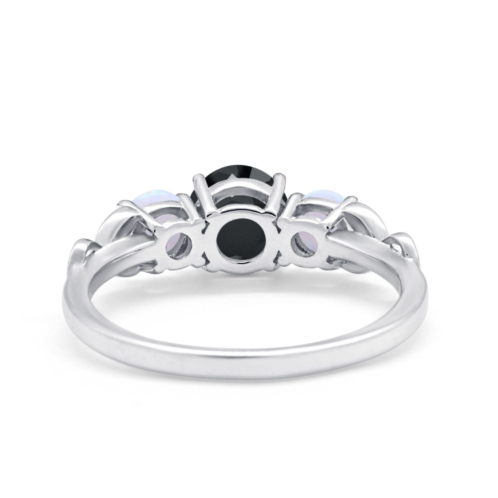 Art Deco Three Stone Engagement Ring Simulated Cubic Zirconia 925 Sterling Silver