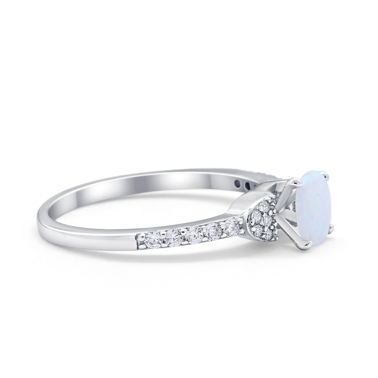Art Deco Wedding Bridal Ring Round Simulated Cubic Zirconia 925 Sterling Silver