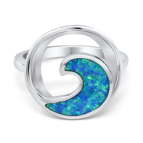 Wave Ring Round Trendy Ocean Created Opal 925 Sterling Silver Choose Color