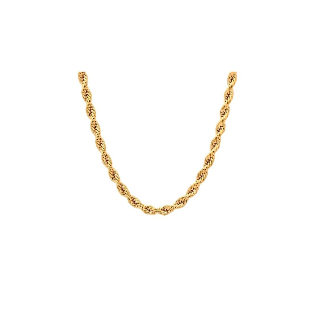 "6MM 120 Yellow Gold Rope Chain .925 Sterling Silver Sizes""8-30"""
