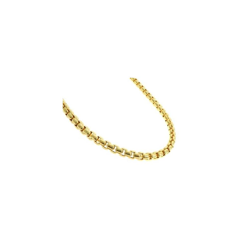"0.9MM 015 Yellow Gold Round Box Chain .925 Sterling Silver ""16-20"""