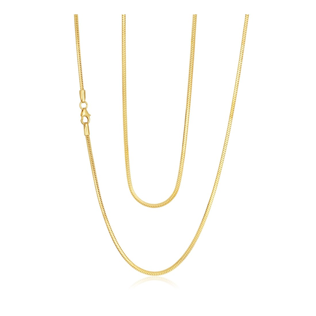 "0.8MM Yellow Gold Square Snake Chain .925 Sterling Silver Sizes ""16-18"""