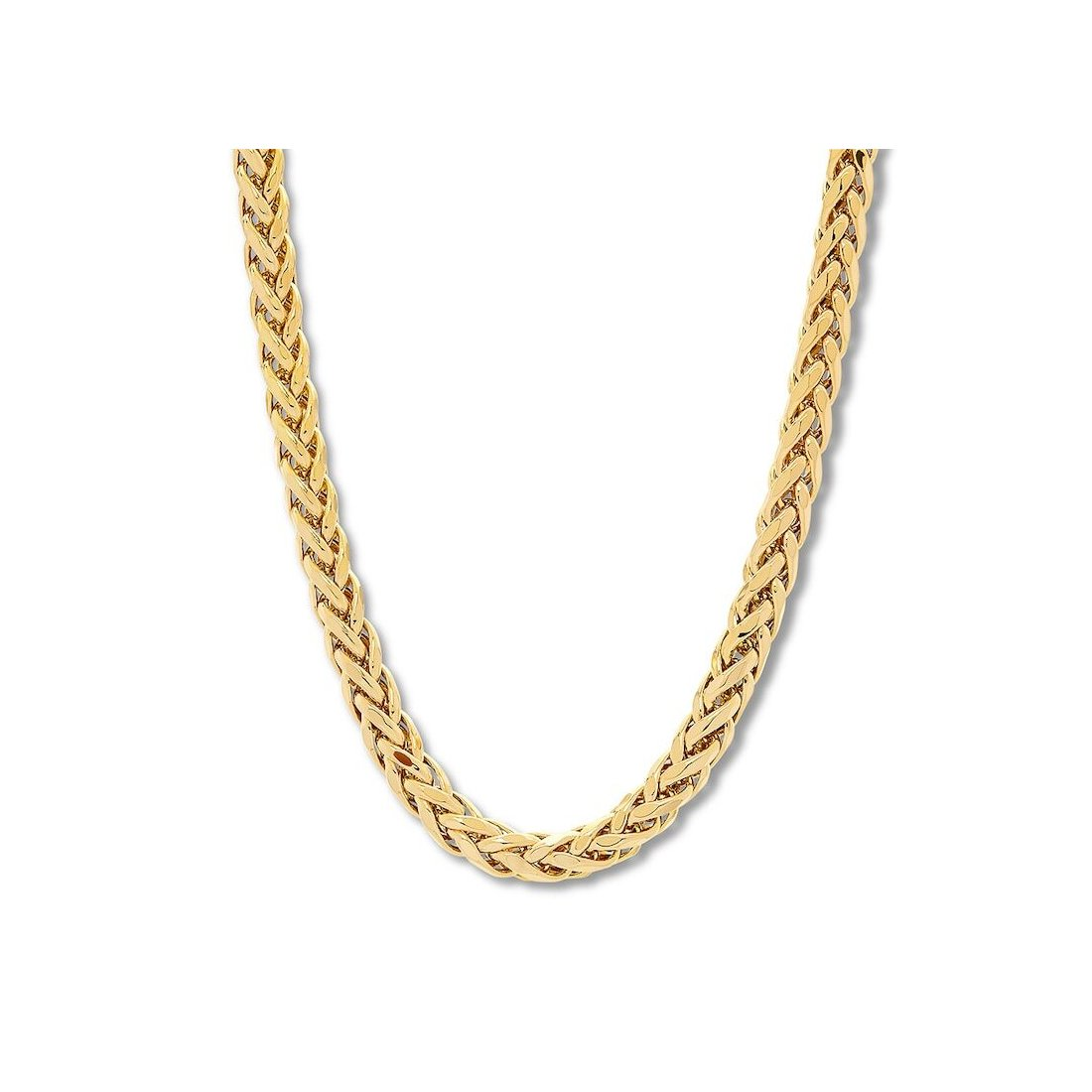 "1.9MM Yellow Gold Wheat/Spiga Chain .925 Sterling Silver ""7-24"""