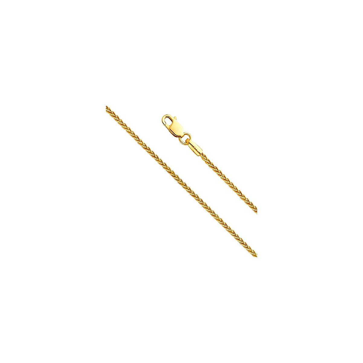"1.2MM Yellow Gold Wheat/Spiga Chain .925 Sterling Silver ""7-24"""