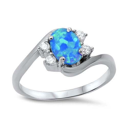 Blue Apple Co. Custom Order for Jess Cannata Blue Opal Oval Ring Black Gold Plating Size 6 - Blue Apple Jewelry