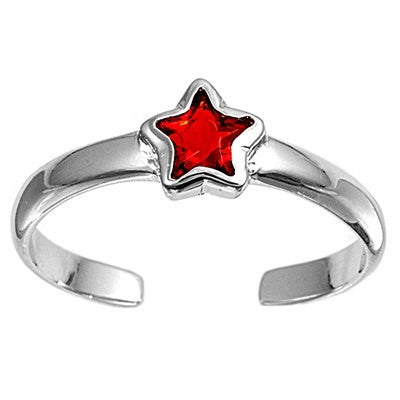 6mm Silver Toe Ring Star in Solid 925 Sterling Round Ruby CZ Plain Toe Ring free size Ladies Jewelry Fashion Toe Ring Gift