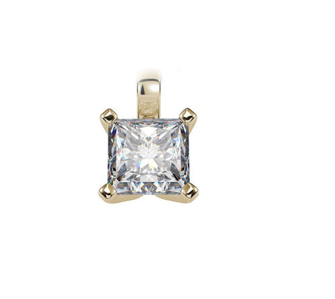 14K Solid Yellow Gold 5mm 6mm Princess Cut Square Clear White Diamond CZ Solitaire Pendant Charm Necklace Solid 14K Gold Wedding Gift - Blue Apple Jewelry
