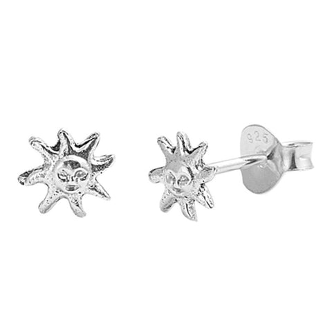 Simple Petite 6mm Small Tiny Cute Pair of Sun Charm Stud Post Earrings Solid 925 Sterling Silver Earrings Cartilage Piercing Kids Gift