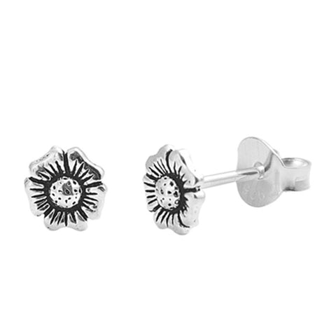 Simple Petite 5mm Small Tiny Cute Pair of Oxidized Flower Stud Post Earrings Solid 925 Sterling Silver Earrings Cartilage Piercing Kids Gift