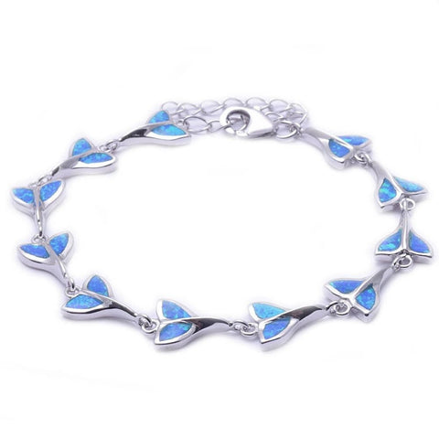 "Blue Opal Fishy Whale Tail Bracelet Solid 925 Sterling Silver 8.5"" Lab Blue Opal Bracelet Every Day Blue Opal Whale Tail Jewelry Gift - Blue Apple Jewelry"