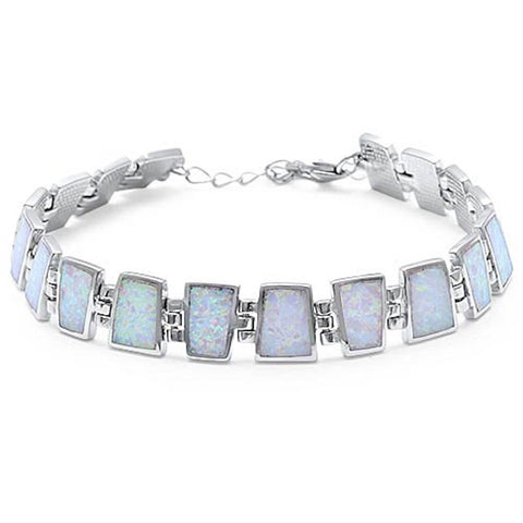 "New Design White Opal Rectangle Bracelet White Opal Solid 925 Sterling Silver 9"" Lab White Opal Bracelet Every Day White Opal Bracelet - Blue Apple Jewelry"