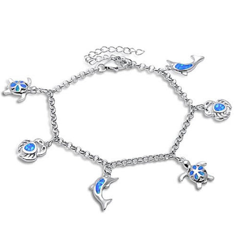 "Dangling Dolphin Turtle Plumeria Crab 9"" Bracelet Solid 925 Sterling Silver Dangling Charm Lab Fire Blue Opal - Blue Apple Jewelry"