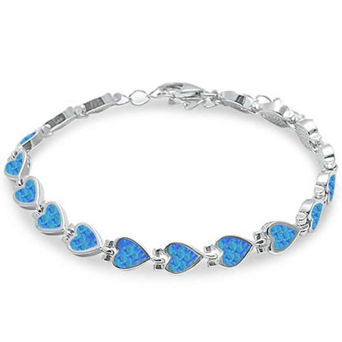 "Heart Bracelet Lab Blue Opal Hearts Solid 925 Sterling Silver Heart Tennis 9"" Bracelet Valentines Gift - Blue Apple Jewelry"