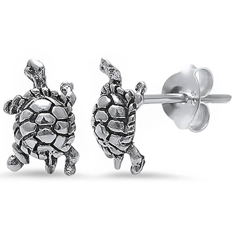 9mm Cute Small Tiny Bali Turtle Shape Stud Post Earrings Solid 925 Sterling Silver Turtle Earrings Good Luck Gift For Kids Turtle  Jewelry - Blue Apple Jewelry