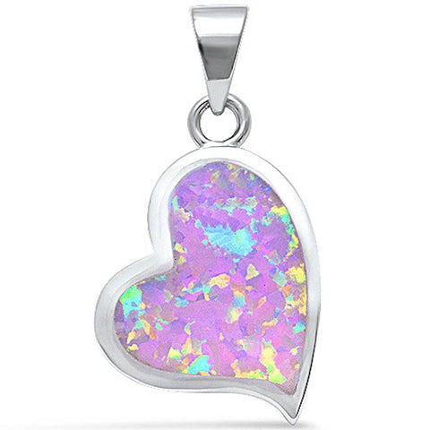 Heart Pendant Lab Pink Opal Heart Shape Charm solid 925 Sterling Silver Valentines Gift - Blue Apple Jewelry
