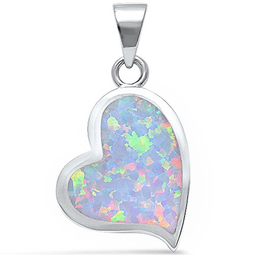 Heart Pendant Lab White Opal Heart Shape Charm Solid 925 Sterling Silver Valentines Gift - Blue Apple Jewelry