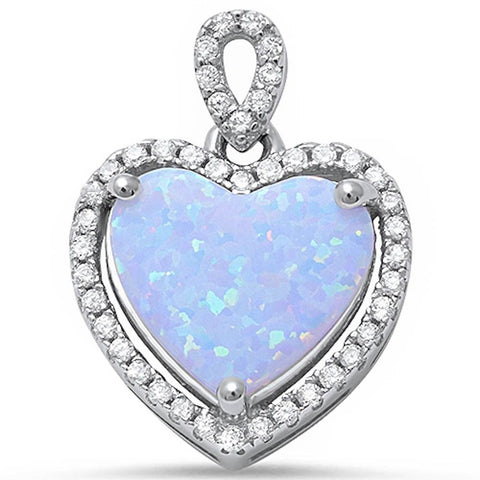 Halo Pendant Heart Pendant Solid 925 Sterling Silver Heart Shape Lab White Opal Round Clear CZ White Opal Heart Pendant Valentines Gift - Blue Apple Jewelry
