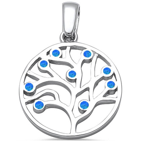 Medallion Tree Of Life Pendant Solid 925 Sterling Silver Lab Blue Opal Tree 31mm Round Tree Of Life Charm