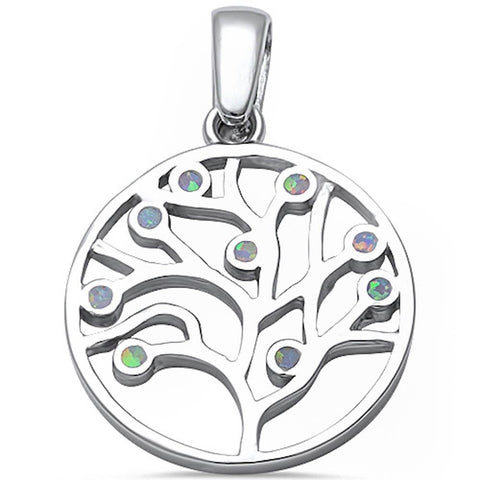 Medallion Tree Of Life Pendant Solid 925 Sterling Silver Lab White Opal Tree 31mm Round Tree Of Life Charm