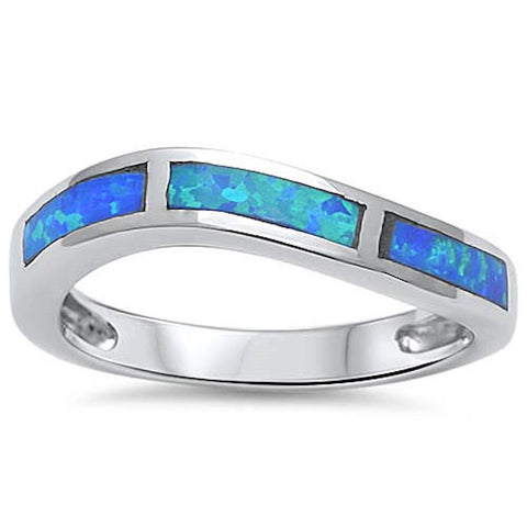 4mm Half Eternity Band Solid 925 Sterling Silver Curved Band For Ring Curvy Lab Blue Opal Ring - Blue Apple Jewelry