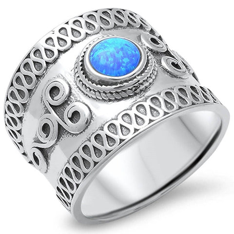 17mm Wide Bali Ring Band Solid 925 Sterling Silver Twisted Rope Round Lab Blue Opal Oxidized Antique Finish Simple Bali Band Bali Jewelry - Blue Apple Jewelry