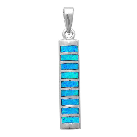 "1.2"" Bar Pendant New Trend Fashion Solid 925 Sterling Silver Lab Blue Opal Inlay Bar Charm Pendant For Necklace - Blue Apple Jewelry"