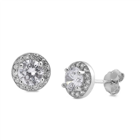 10mm Classic Halo Stud Post Earring Solid 925 Sterling Silver Round Brilliant Cut Cubic Zirconia Wedding Engagement Bridal Earring