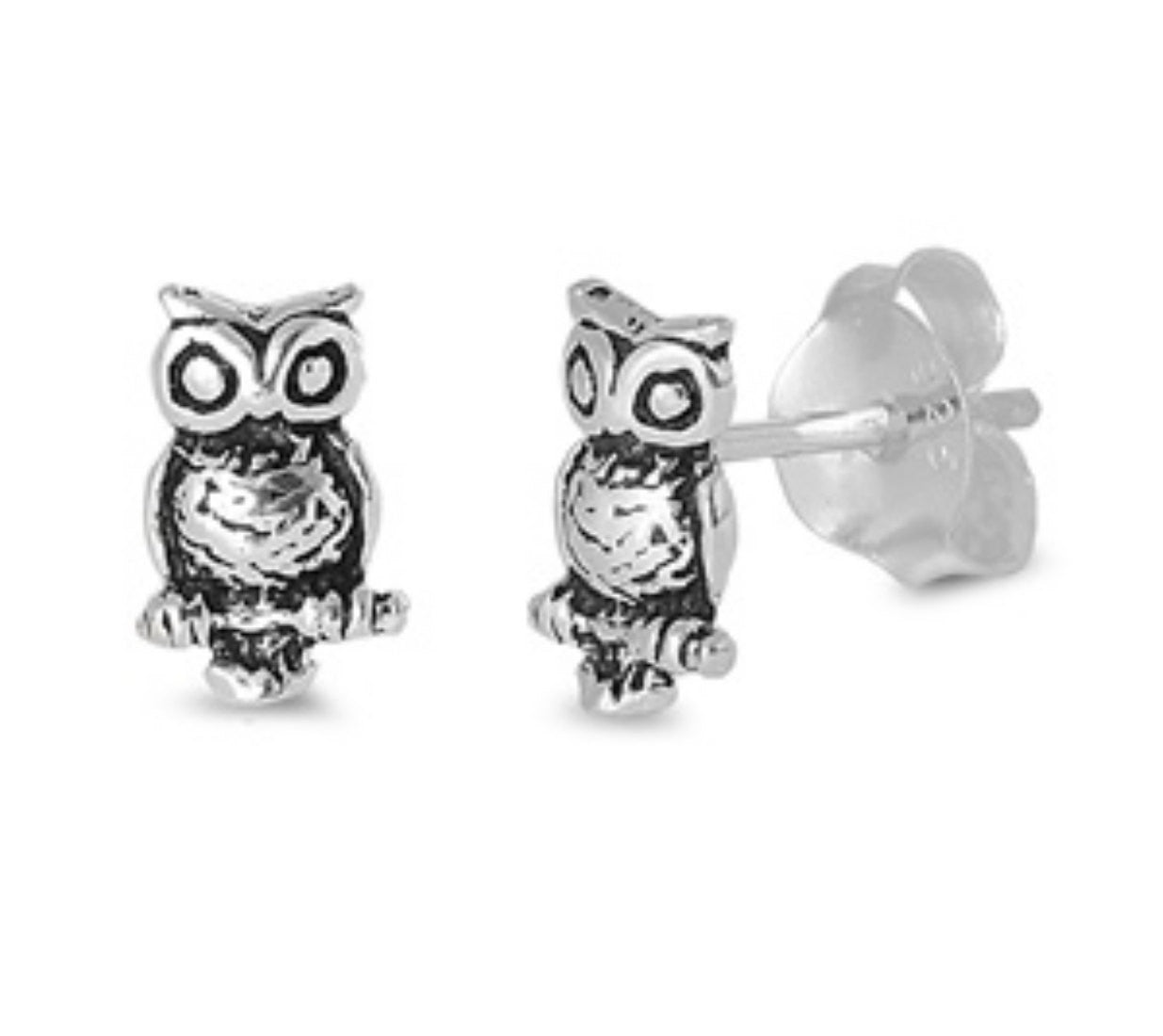 8mm Tiny Owl Cute Stud Post Earring Solid 925 Sterling Silver Oxidized Owl Earrings, Good Luck Gift, Babies, Kids - Blue Apple Jewelry