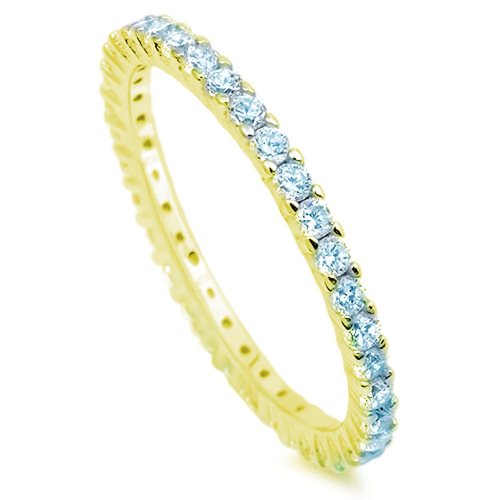 2mm Stackable Band Yellow Gold 925 Sterling Silver Round Blue Aquamarine CZ Full Eternity Stackable Wedding Engagement Anniversary Ring 5-10 - Blue Apple Jewelry