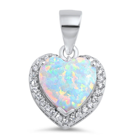 Fashion Halo Pendant Heart Pendant Solid 925 Sterling Silver Heart Shape Lab White Opal Round Clear CZ White Opal Heart Pendant Gift - Blue Apple Jewelry