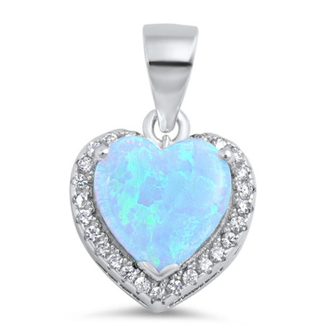 Fashion Halo Pendant Heart Pendant Solid 925 Sterling Silver Heart Shape Lab Light Blue Opal Round Clear CZ Opal Heart Pendant Gift