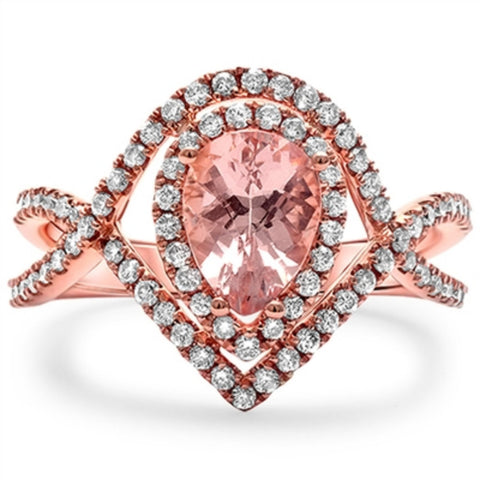 1.54ct Pear Shape Teardrop Pink Morganite Round E VS2 Diamond Solid 14K Rose Gold Infinity Twisted Shank Halo Wedding Engagement Bridal Ring
