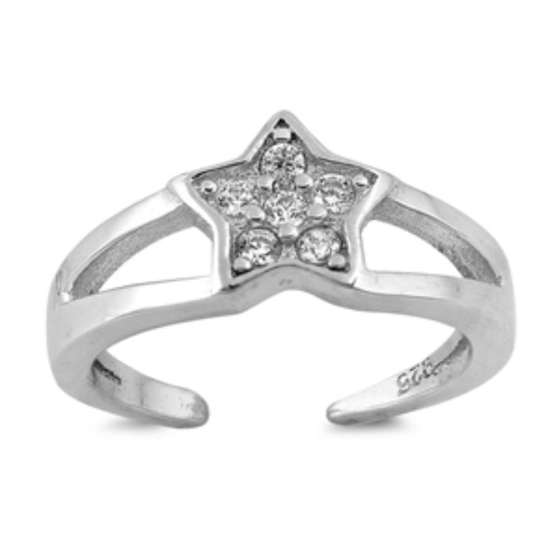 Toe Ring Silver Toe Ring Star Toe Ring Round Cubic Zirconia Split Open Shank Solid 925 Sterling Silver Star, Galaxy, 7mm Adjustable - Blue Apple Jewelry