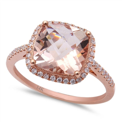 14k Rose Gold Fancy Wedding Engagement Anniversary Bridal Ring 2.75ct F VS Diamond Accent Cushion Cut Pink Morganite Solitaire Halo Ring - Blue Apple Jewelry