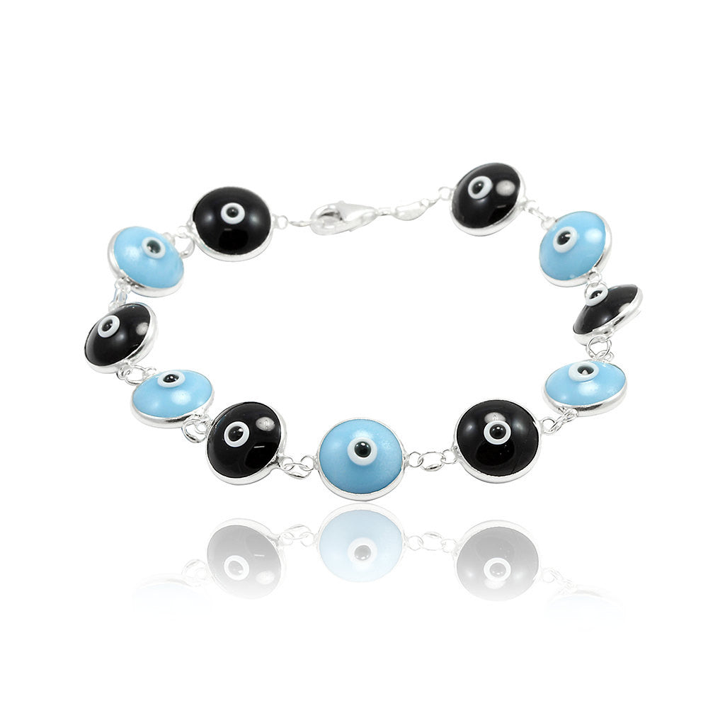 "Unisex Trendy 10mm Evil Eye Black & Blue Beaded 7"" Bracelet Solid 925 Sterling Silver Round Evil Eye Jewelry Blue and Black - Blue Apple Jewelry"