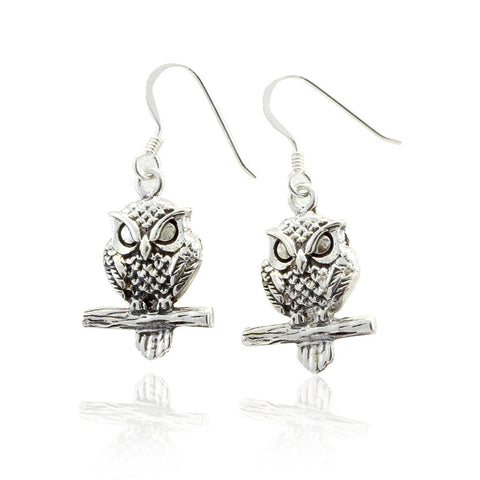 Dangling Owl Earrings Solid 925 Sterling Silver Oxidized Finish Fish Hook Good Luck Owl Earring Simple Plain Gift Pair - Blue Apple Jewelry