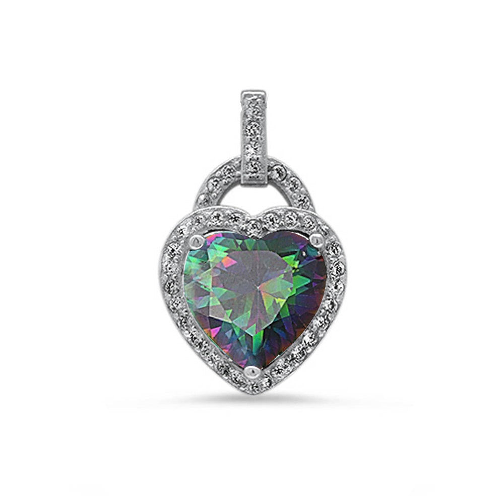 Halo Pendant Heart Pendant Solid 925 Sterling Silver Heart Shape Mystic Rainbow Fire Topaz Round Clear CZ Accent Heart Pendant January Gift - Blue Apple Jewelry
