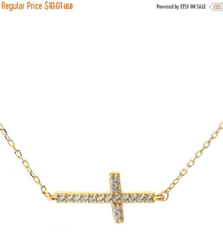 "16"" Sideways Cross Pendant Necklace Yellow Gold over Solid 925 Sterling Silver Round Pave Russian Diamond Sparkling CZ - Blue Apple Jewelry"
