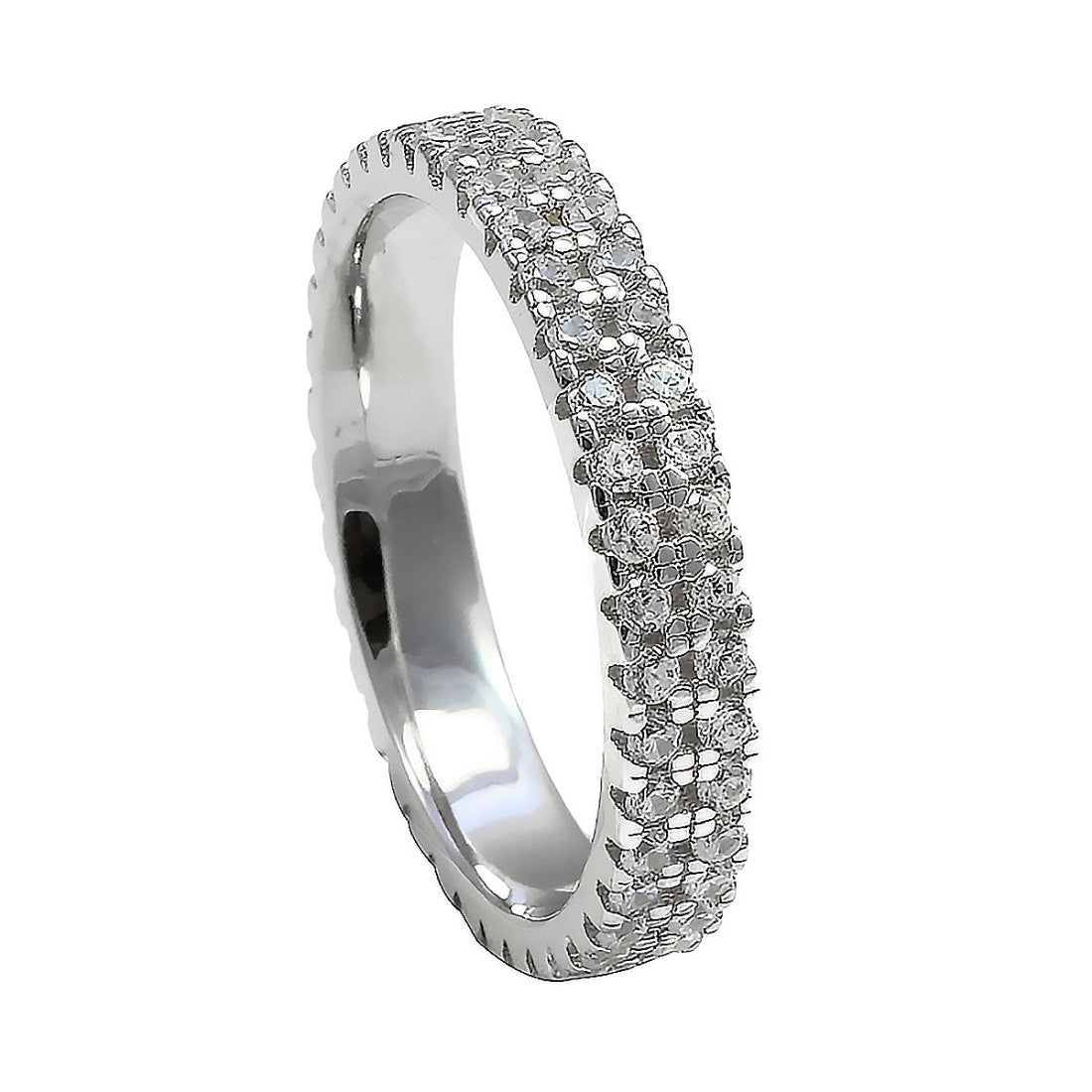35mm Full Eternity Band For Ring Pave Double Row Stackable Round Clear CZ Solid