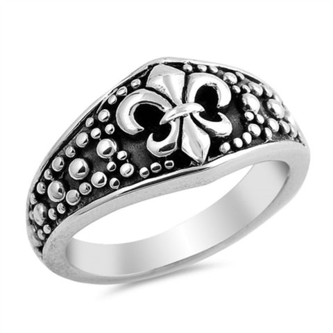 Oxidized Fleur De Lis Ring Solid 925 Sterling Silver Antique Finish Fleur De Lis Ring Royal Gift Size 4-16 Plain Simple Fluer De Lis Ring