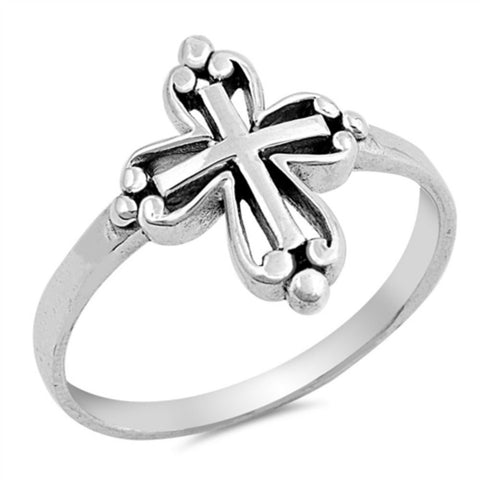 Cross Ring Solid 925 Sterling Silver Antique Finish Design Oxidized Cross Ring Christianity Catholicism Cross Jewelry Religious Gift 4-16 - Blue Apple Jewelry