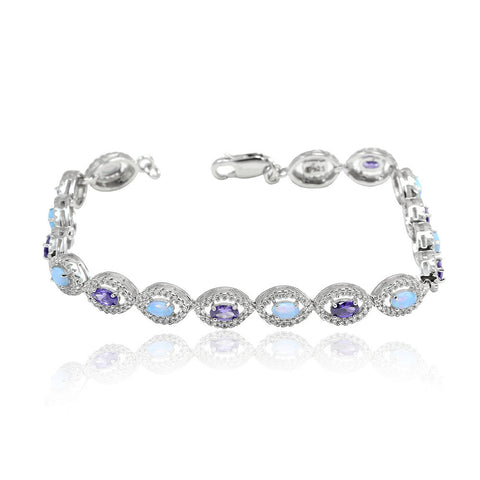 "7.5"" Halo Tennis Bracelet Oval Lab Light Blue Opal and Purple Amethyst Round Diamond Clear CZ Solid 925 Sterling Silver Bracelet Bridal Gift - Blue Apple Jewelry"