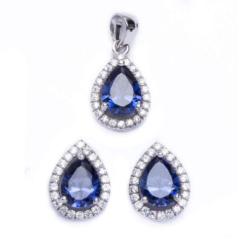 Halo Jewelry Set Halo Pendant Halo Stud Earrings Matching Set Teardrop Pear Shape Deep Blue Sapphire CZ Round Clear CZ 925 Sterling Silver