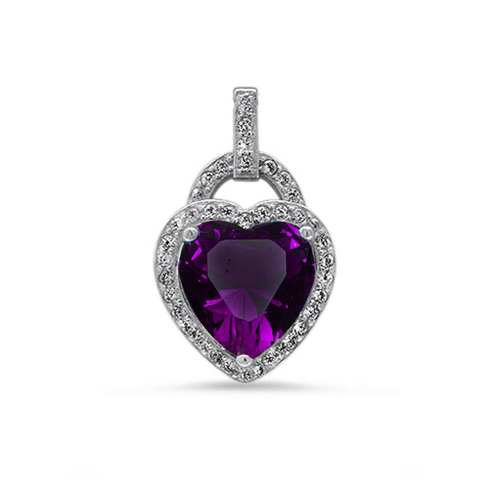 Fashion Halo Pendant Heart Pendant Solid 925 Sterling Silver Heart Shape Purple Amethyst Round Clear CZ Accent Heart Pendant January Gift - Blue Apple Jewelry